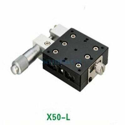 X Axis 50X50mm Platform Precision Bearing Linear Stage Left Micrometer