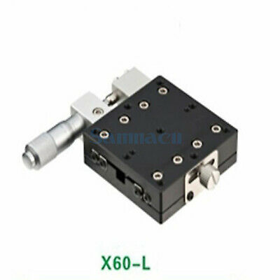 X Axis 60X60mm Platform Precision Bearing Linear Stage Left Micrometer