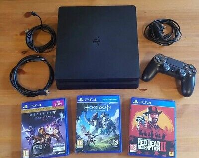 Sony PlayStation 4 PS4 1TB Slim Console & Controller & 3 Games - Red Dead II 2