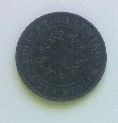 J G Fleming , Sugar Loaf penny token. 1874 Hobart Town.
