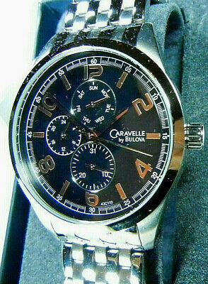 "CARAVELLE ""DAY/DATE/24HR"" by BULOVA Men's 3-ATM Quartz Watch-RUNS-FREE SHIPPING!"