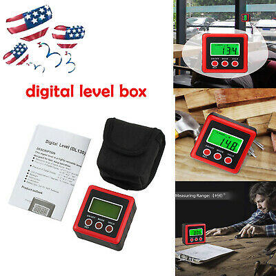NEW Digital Electronic Protractor Gauge Magnetic Base Angle Cube Sea Level Tool