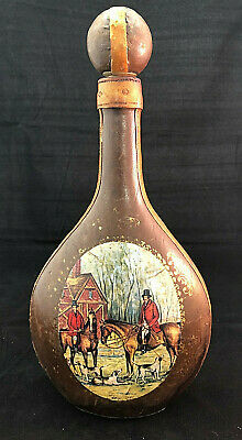 COLLECTORS: Vintage Embossed Leather Covered Wine Bottle Decanter Italian
