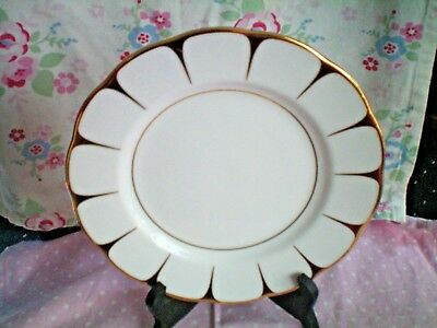 "Royal Vale China  8"" Plate White And Gold  Vintage Vgc"
