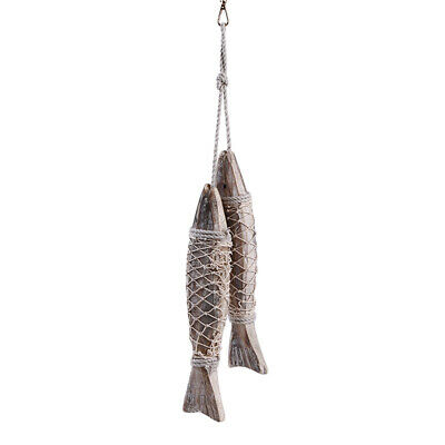 Nordic Style Nautical Hand Carved Wood Fish Set Wall Hanging Decor Sea Plaque Z