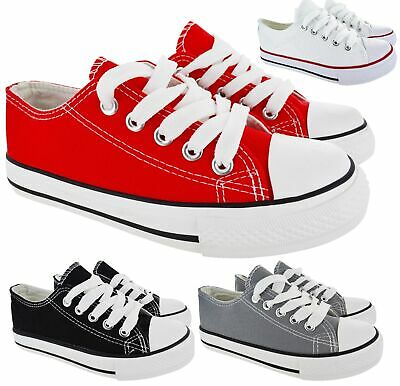 Childrens Kids Boys Girls Lace Up Comfy Sneakers Plimsoles Pumps Trainers Shoes