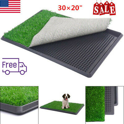 "Pet Potty Trainer Grass Mat Dog Puppy Training Pee Patch Pad Tray Turf 30×20"" US"