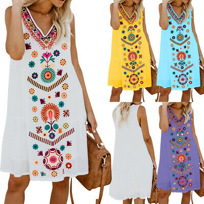 Plus Size Womens Floral Sleeveless Long Tops Blouse Ladies Summer T-Shirts Dress