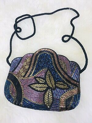VINTAGE Beaded Metallic Cross Body Bag Blogger Boho Festival Hippy Statement