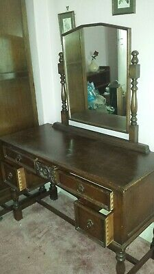 Dark Oak Dressing Table & mirror by Crown AY. Excellent condition