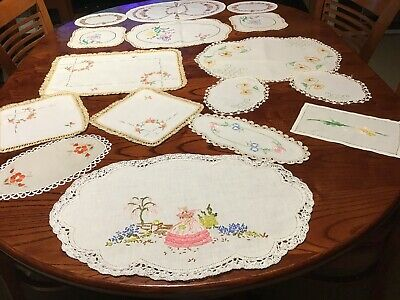 Vintage Embroidered Duchess Sets X 4  & 4 Doilies Total 16.