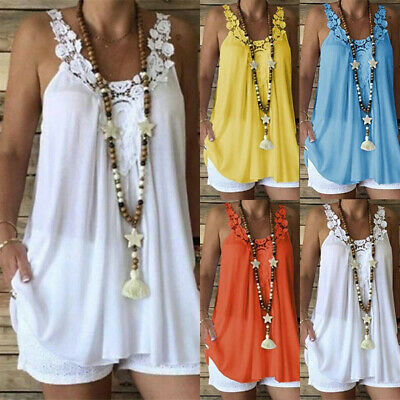UK Womens Sleeveless Baggy Tops Vest Ladies Casual Lace Blouse T-Shirt Cami Top