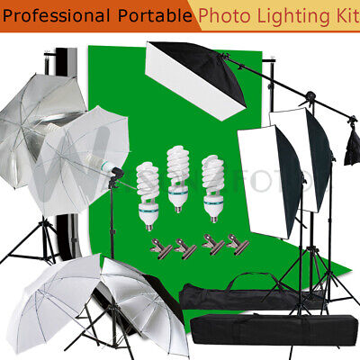 Photography Studio Backdrop Set Softbox Umbrella Lighting Kit With Bags US Stock