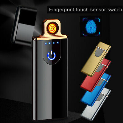 Smart Ultra-Thin Metal Electric Lighter USB Windproof Flameless Rechargeable