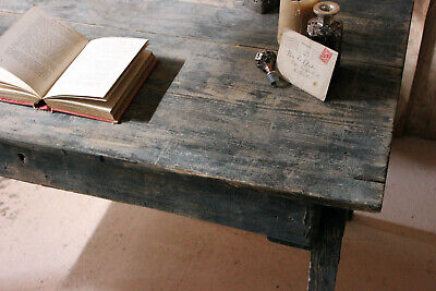Antique Rustic Provincial Black Painted French Pine Farmhouse Table c.1900