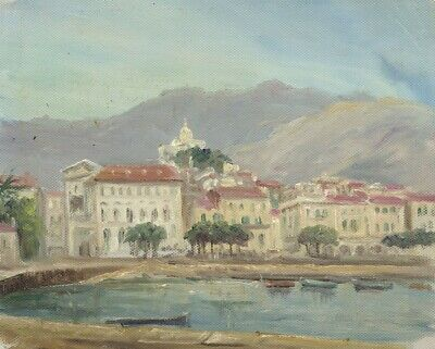 E.P. Corin, Riviera Town with Mountain Backdrop -Early 20th-century oil painting