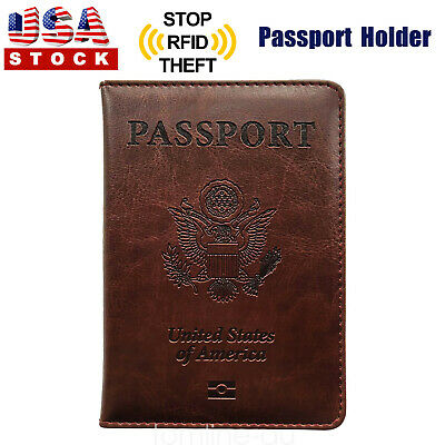 Brown PU Leather Passport Cover Protector ID Name Card Case Travel Wallet US