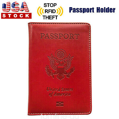 Passport Cover Protector PU Leather ID Case Card Holder Travel Wallet Red US
