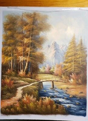Oil Painting On Canvas  Fall mountain scene with bridge and river