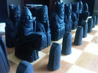 Isle of Lewis Chess Set - Matt Black and Antique Stone - Two Extra Queens