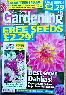 AMATEUR GARDENING MAGAZINE ISSUE 7th JULY 2018 WITH FREE SEEDS ~ NEW ~