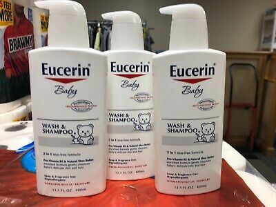 Eucerin Baby Wash and Shampoo 13.5 Fluid Ounce (Pack of 3) New