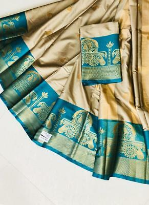 Cream Saree Sari Indian Designer Cotton Silk Bollywood Wedding Dress Party Wear