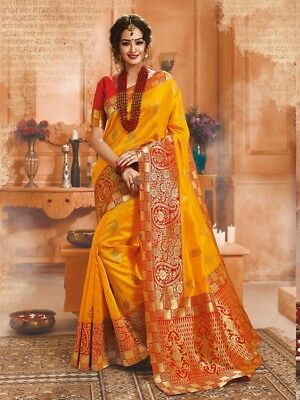 Yellow Saree Sari Indian Designer Tussar Silk Women Bollywood Wedding Curtain NW