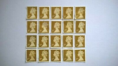 20 Unfranked Gold First Class Security Stamps (Off Paper - No Gum) - Grade B