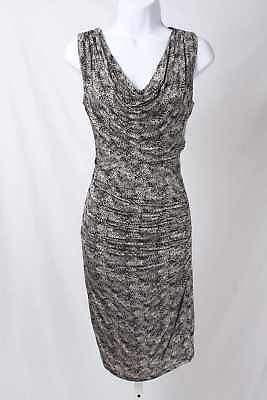 7d5e48996433 MNG by Mango Size XS Black & Cream Leopard Print Ruched Bodycon Dress 1085  T31E