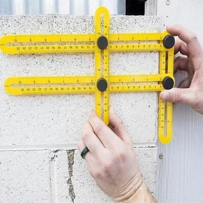 Multi Angle Ruler 4 Folding Protractor Template Brick Woods Measuring Instrument