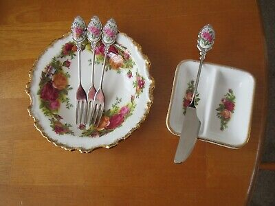 Royal Albert Old Country Roses Rare Butter Pat/frilled Jam Dish/free Cutlery