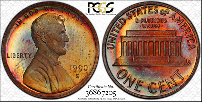 1990-S 1c LINCOLN MEMORIAL PENNY PCGS PR66RB BEAUTIFUL & TONED ONLY 4 HIGHER!