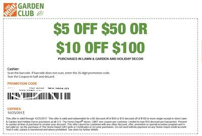 Home Depot $5 OFF 50 or 10 off 100 Lawn Garden Exp 4/26 In Store (same day del)