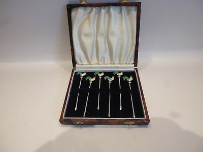Six Vintage 1930'S Art Deco Sterling Silver Cocktail Sticks With Enamelled Tops