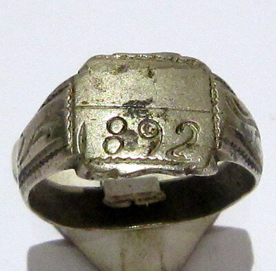 MARVELOUS TOP QUALITY SILVER ANTIQUE 1892's PERSONAL RING,YEAR INSCRIBED # 62B