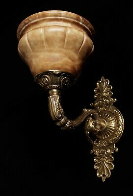 single  wall sconces antique style  solid bronze and real spanish alabaster
