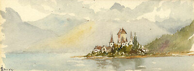 Emily Bruce, Spiez Castle, Lake Thun, Switzerland - 1873 watercolour painting