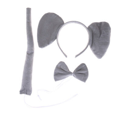 3Pce/set Elephant Animal Zoo Headband Ears Bow Tail Fancy Dress For Kids Gift HV