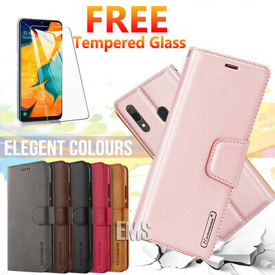 Samsung Galaxy A20 A30 A50 A70 Wallet Leather Flip Case Cover + Tempered Glass