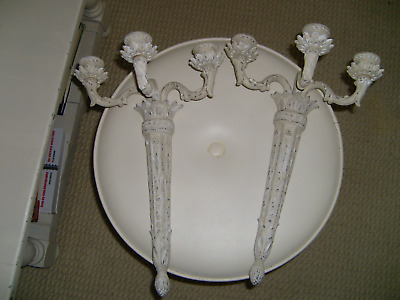 Victorian pair of French cast metal candle holder sconces. Restored.