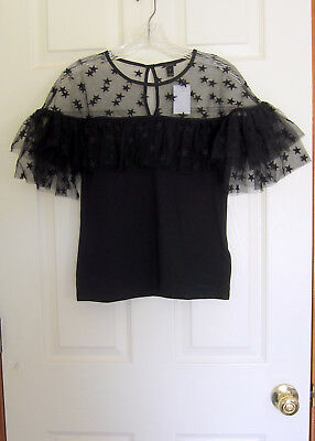 1c901abc3631ec NWT J.Crew Starry Tulle Top Size Small Black Item H2048 SOLD OUT ($69.50