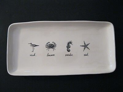 Rae Dunn by Magenta Seek~Discover~Wander~Wish Sea Life Beach Serving Platter New