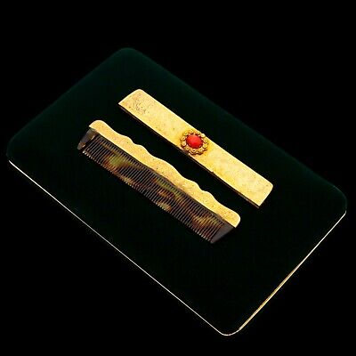 Antique Vintage Deco Sterling 800 Silver Gold Italian Etruscan Red Coral Comb