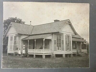 Vintage Cabinet Photo Family Victorian Home House Mother Father Children Porch