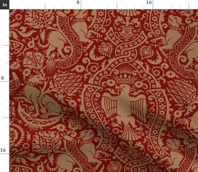 Damask Red Gold Birds Mammals Florals Vintage Fabric Printed by Spoonflower BTY