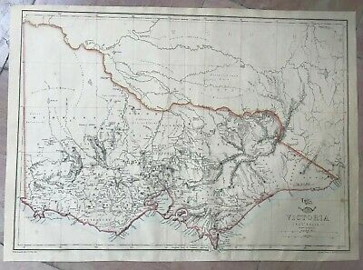 AUSTRALIA VICTORIA 1863 by ED WELLER LARGE DETAILED ANTIQUE ENGRAVED MAP