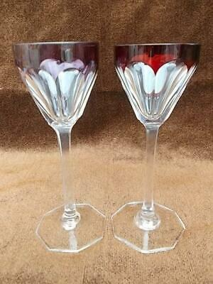 304 / PAIR OF 1920s ART DECO BOHEMIAN HAND BLOWN GLASSES WITH SQUARE CUT STEMS