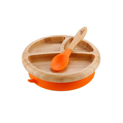 Avanchy Bamboo Silicone Spill Proof Stay Put Suction Divided Plate +Spoon Orange