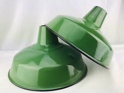 "14"" Porcelain Enamel Metal Lamp Shade Light Industrial Gas Station Farm Green"